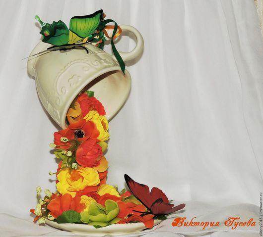 """Интерьерные композиции ручной работы. Ярмарка Мастеров - ручная работа. Купить Парящая цветочная чаша """"Летняя"""". Handmade. Желтый, цветы"""