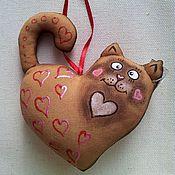Подарки к праздникам ручной работы. Ярмарка Мастеров - ручная работа Сердце - котик. Handmade.