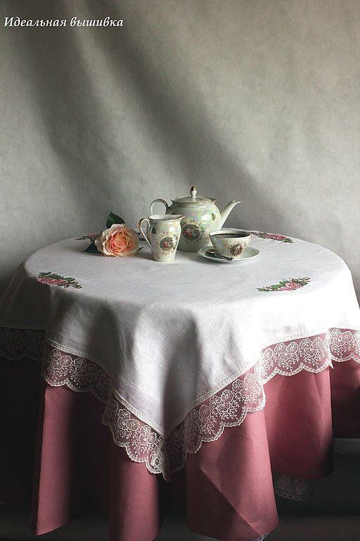 """Текстиль, ковры ручной работы. Ярмарка Мастеров - ручная работа. Купить Скатерть льняная """"Английский завтрак"""" 100х100 см. Handmade."""