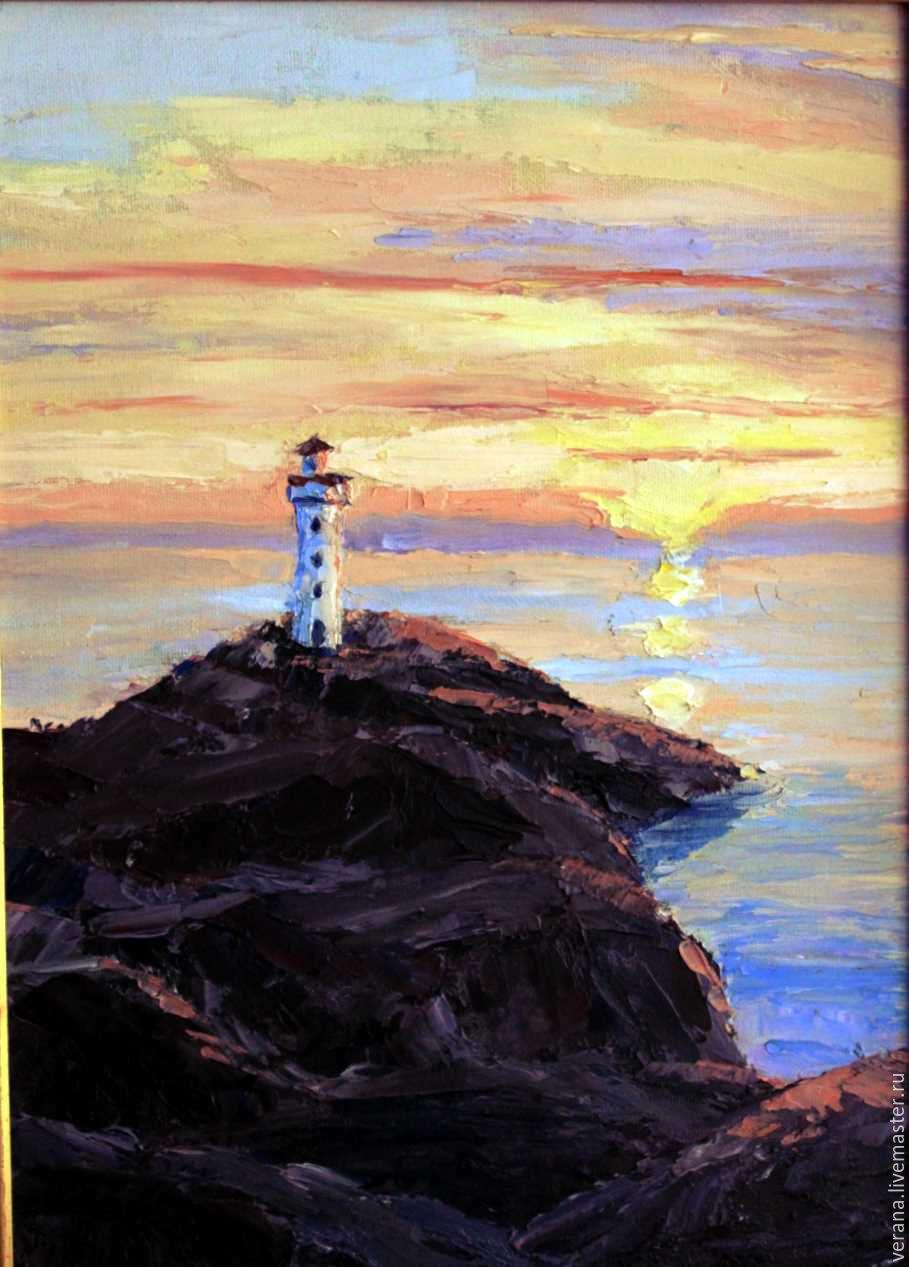 Картина маяк в море