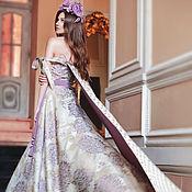 Одежда ручной работы. Ярмарка Мастеров - ручная работа Платье из жаккарда в астрах. Handmade.