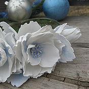 Работы для детей, ручной работы. Ярмарка Мастеров - ручная работа Снежные розы. Обруч для волос с крупными белыми цветами.. Handmade.