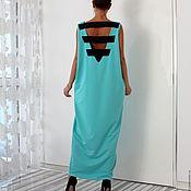 Одежда ручной работы. Ярмарка Мастеров - ручная работа Бирюзовое коктейльное макси платье, кафтан с открытой спиной. Handmade.