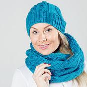 """Аксессуары ручной работы. Ярмарка Мастеров - ручная работа """"Бирюза"""", комплект вязаный женский, шарф снуд вязаный и шапка вязаная. Handmade."""