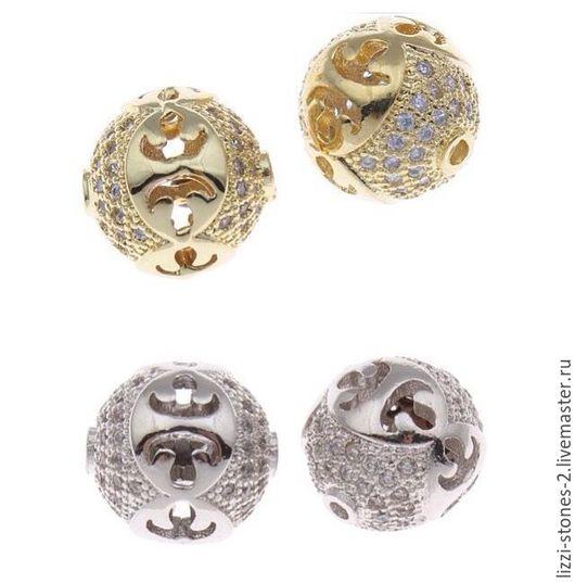 Бусина шар с вензелем серебро и золото (Milano) Евгения (Lizzi-stones-2)