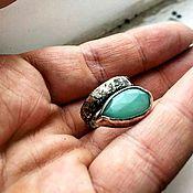 Украшения ручной работы. Ярмарка Мастеров - ручная работа GREEN. Кольцо из серебра с хризопразом.. Handmade.