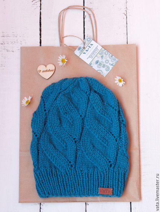 вязаная шапка с косами купить, шапка с косами крупной вязки, шапка из 100% шерсти, вязаная шапка из мериноса, шапка вязаная на осень, шапка спицами ручной работы