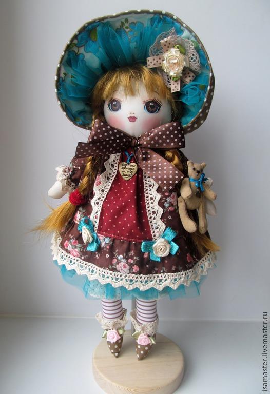 Коллекционные куклы ручной работы. Ярмарка Мастеров - ручная работа. Купить Лиза, шоколад и бирюза. Handmade. Коричневый, кукла текстильная