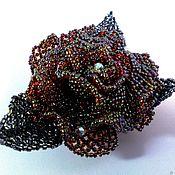 Украшения handmade. Livemaster - original item The black PRINCE rose-brooch made of Japanese glass seed beads. Handmade.