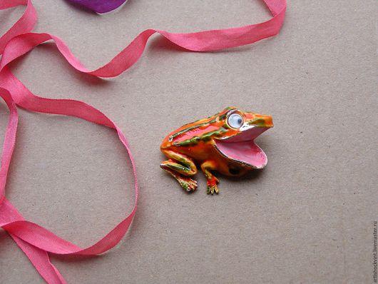 Броши ручной работы. Ярмарка Мастеров - ручная работа. Купить ЛЯГУШКИ. Handmade. Рыжий, эмаль, жаба, металл