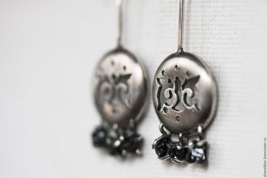 Серьги ручной работы. Ярмарка Мастеров - ручная работа. Купить Национальные серьги с необработанными алмазами – Казахские серьги. Handmade.