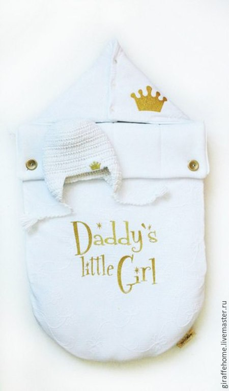 """Для новорожденных, ручной работы. Ярмарка Мастеров - ручная работа. Купить Конверт для новорожденного """"Папина девочка"""". Handmade. Белый"""