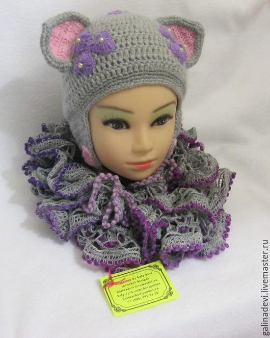 Шапки и шарфы ручной работы. Ярмарка Мастеров - ручная работа. Купить ШАПКА-КОШКА с ушками для девочек вязаная с подкладом  теплая осень-зим. Handmade.