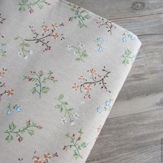 Ткань лен натуральный. Рисунок Полевые цветы.