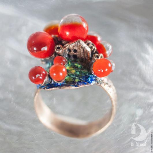 Кольца ручной работы. Ярмарка Мастеров - ручная работа. Купить Кольцо маленький домик на коралловом рифе. Handmade. Комбинированный, lampwork