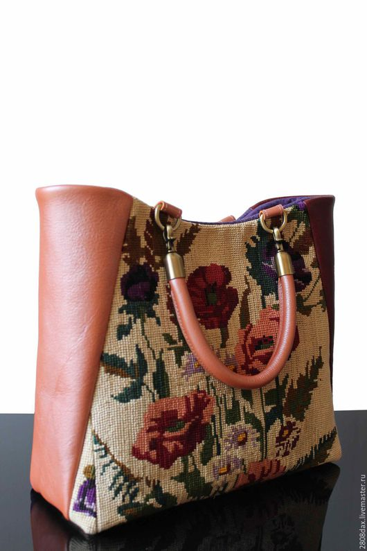 """Женские сумки ручной работы. Ярмарка Мастеров - ручная работа. Купить """"Vintage bouquet"""" Кожаная сумка, сумка с вышивкой, вишневая сумка. Handmade."""