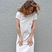 Одежда ручной работы. Ярмарка Мастеров - ручная работа Платье миди из трикотажа БЕЛОЕ. Handmade.