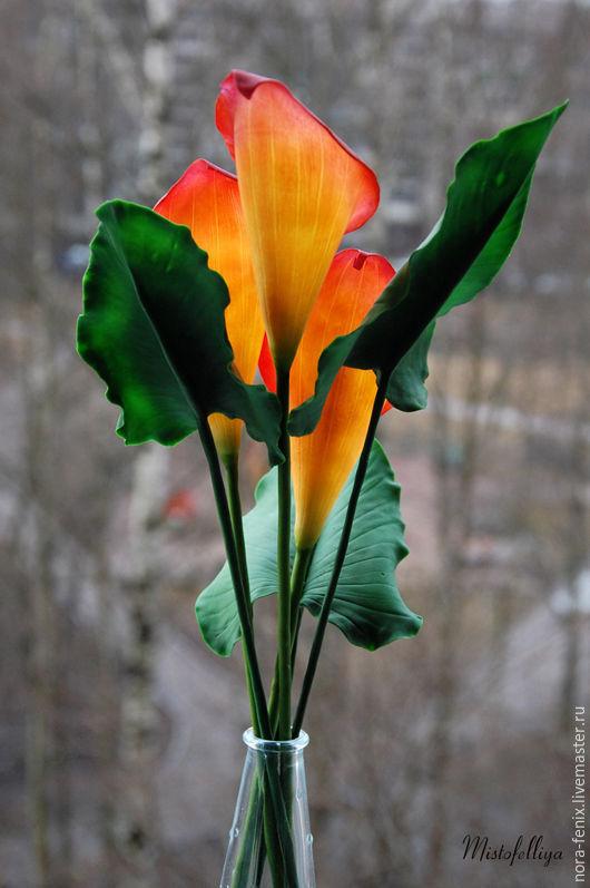 Цветы ручной работы. Ярмарка Мастеров - ручная работа. Купить Букет оранжевых калл. Handmade. Оранжевый, реалистичная флористика, цветы