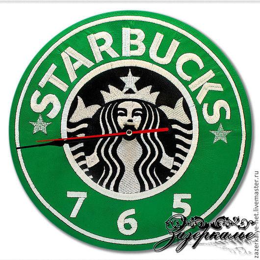 """Часы для дома ручной работы. Ярмарка Мастеров - ручная работа. Купить Часы """"Starbucks"""", нат. кожа, вышивка, аэрография. Handmade."""