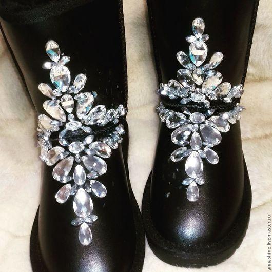 Обувь ручной работы. Ярмарка Мастеров - ручная работа. Купить Угги в стразах. Handmade. Угги ручной работы, стразы, черный