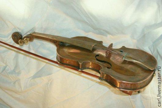 Струнные инструменты ручной работы. Ярмарка Мастеров - ручная работа. Купить Медная скрипка. Handmade. Скрипка, латунь пайка меди