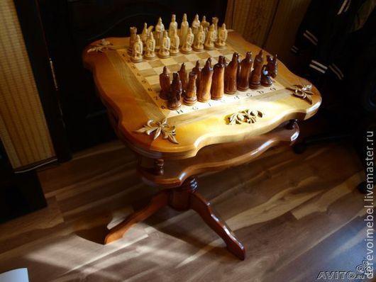 Настольные игры ручной работы. Ярмарка Мастеров - ручная работа. Купить Шахматный стол. Handmade. Коричневый, шахматы, лиственница