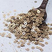 Материалы для творчества handmade. Livemaster - original item Sequins 3 mm No. №76 Bronze matte 2 g. Handmade.