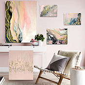 Картины и панно handmade. Livemaster - original item A set of abstract paintings of Pink smoke, a gold petal. Handmade.