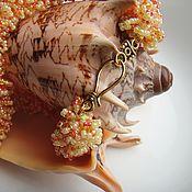 """Украшения ручной работы. Ярмарка Мастеров - ручная работа Колье """"Золотой песок"""" - вязаный пушистый жгут. Handmade."""
