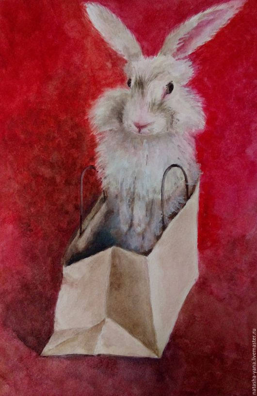 Животные ручной работы. Ярмарка Мастеров - ручная работа. Купить Акварель. Кролик Степаныш. Handmade. Комбинированный, акварель, кролик, акварель