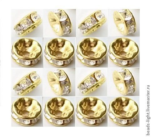 Бусина-рондель со стразами круг 8 мм золото. Ярмарка Мастеров.