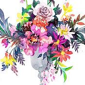 Картины и панно ручной работы. Ярмарка Мастеров - ручная работа Акварельный букет в серой вазе. Handmade.