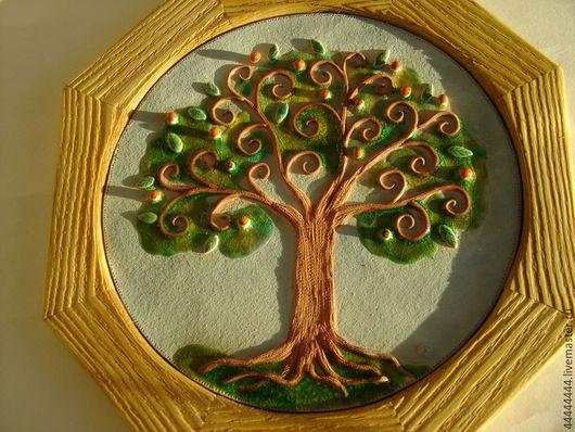 Персональные подарки ручной работы. Ярмарка Мастеров - ручная работа. Купить панно Мандариновое дерево в раме керамика. Handmade. Подарок