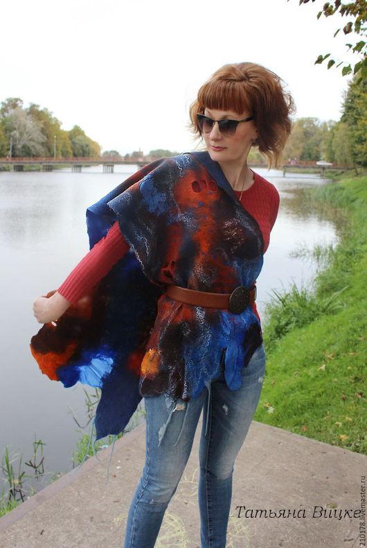 Валяный шарф- палантин из шерсти в технике мокрого валяния
