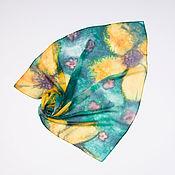 Аксессуары handmade. Livemaster - original item Emerald summer shawl natural silk, chiffon. Handmade.