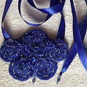 """Украшения ручной работы. Ярмарка Мастеров - ручная работа Колье текстильное  .  """"Синева"""" Колье из ткани.. Handmade."""