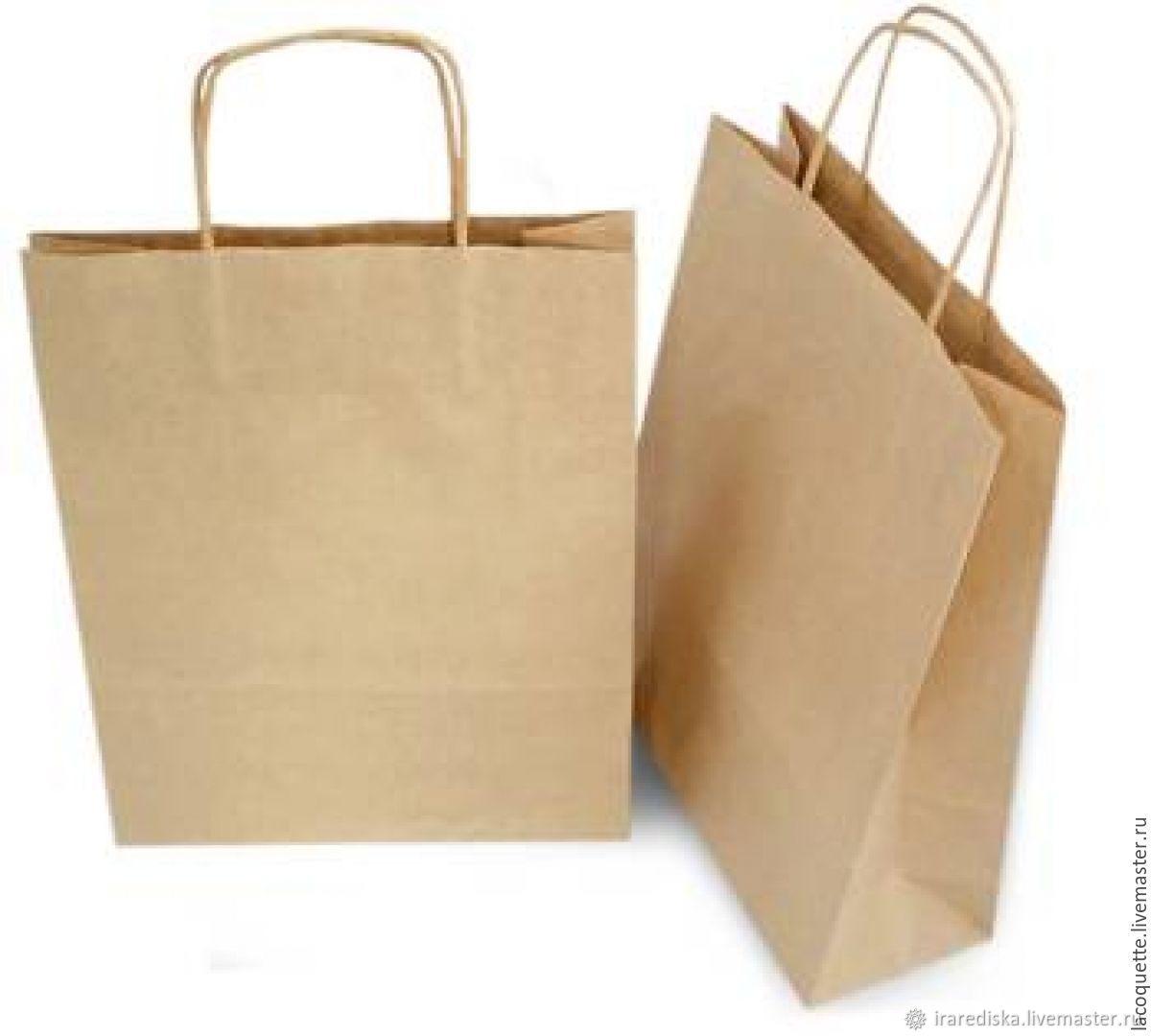 Крафт пакет бурый с кручеными ручками, Пакеты, Таганрог,  Фото №1