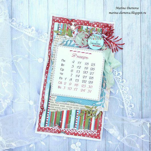 Календари ручной работы. Ярмарка Мастеров - ручная работа. Купить Новогодний календарь 2016 ручной работы. Handmade. Комбинированный, 2016 год