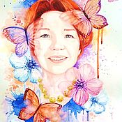 Картины и панно handmade. Livemaster - original item A portrait from a photo in style of a fantasy color on the watercolor. Handmade.