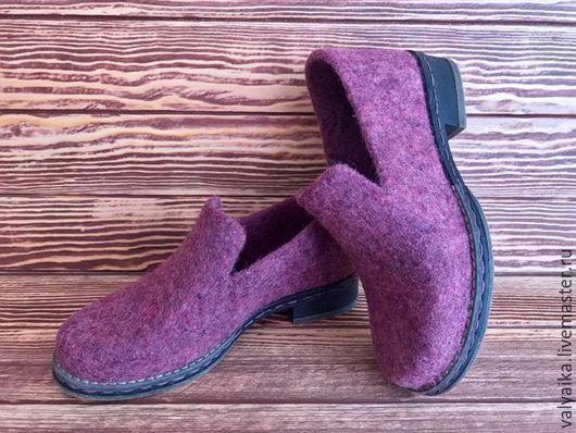 Обувь ручной работы. Ярмарка Мастеров - ручная работа. Купить Мокасины валяные. Handmade. Брусничный, войлочные туфли, комфортная обувь