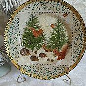 """Посуда ручной работы. Ярмарка Мастеров - ручная работа Подарочная тарелка """"У ёлочки""""!!!. Handmade."""
