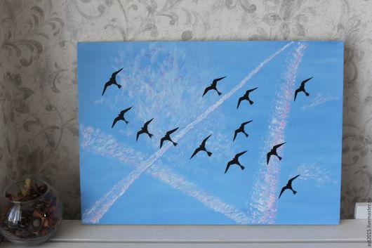 """Пейзаж ручной работы. Ярмарка Мастеров - ручная работа. Купить Интерьерная картина """"Мгновение"""". Холст, акрил. Handmade. Голубой, небо"""