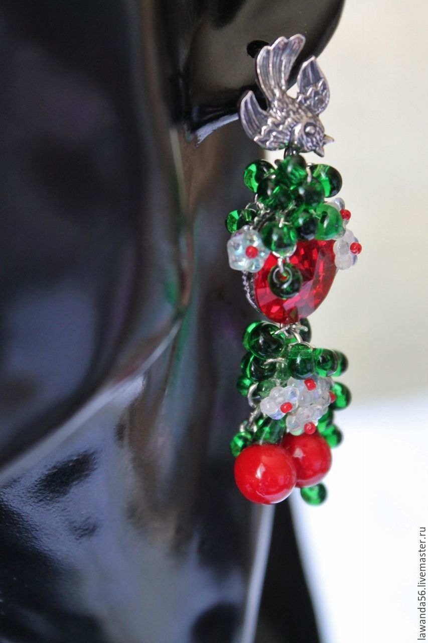 Earrings lampwork berry with Swarovski crystals Cherries, Earrings, Krasnoyarsk,  Фото №1