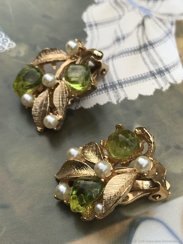Gooseberry sourness. Catchy clips. USA, Vintage earrings, Vladivostok,  Фото №1