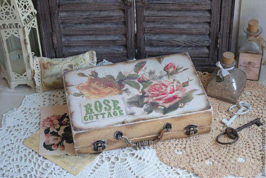 """Корзины, коробы ручной работы. Ярмарка Мастеров - ручная работа. Купить Чемодан """"Rose Cottage"""" маленький деревянный. Handmade. Чемодан"""