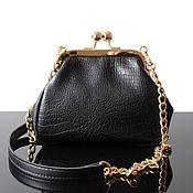 Сумки и аксессуары handmade. Livemaster - original item Retro black leather handbag with a long strap. Handmade.