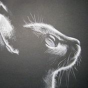 """Картины и панно ручной работы. Ярмарка Мастеров - ручная работа Картина """"Монохромный котик"""".. Handmade."""