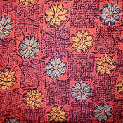 Материалы для творчества ручной работы. Ярмарка Мастеров - ручная работа Натуральный шелк сари, винтаж, цветы на красном, 5 метров. Handmade.
