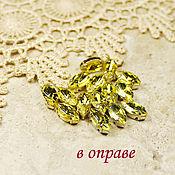 Материалы для творчества handmade. Livemaster - original item Glass rhinestones 10h5 mm Lemon in gold and silver frames. Handmade.