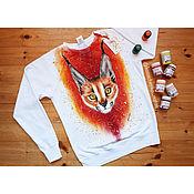 Одежда handmade. Livemaster - original item Sweatshirt with hand-painted Caracal. Handmade.